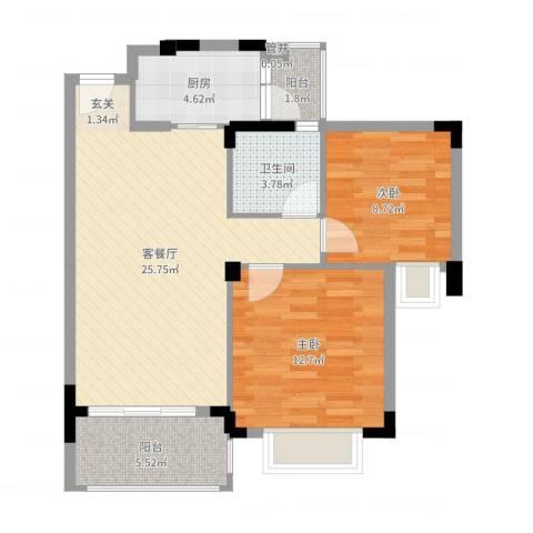 大信芊翠家园2室2厅1卫1厨79.00㎡户型图