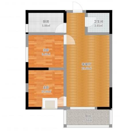颐和郡2室2厅1卫1厨82.00㎡户型图