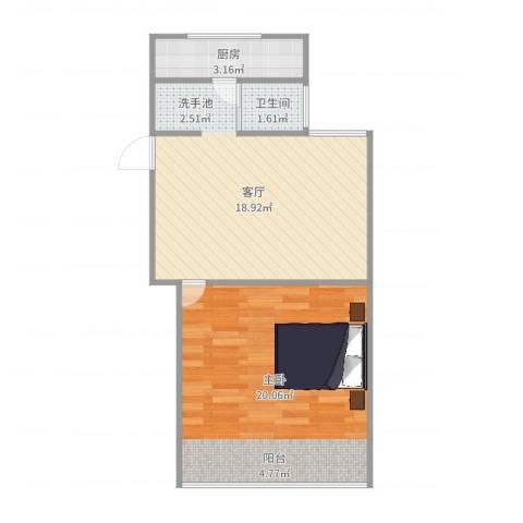 金桥湾清水苑1室1厅1卫1厨55.00㎡户型图