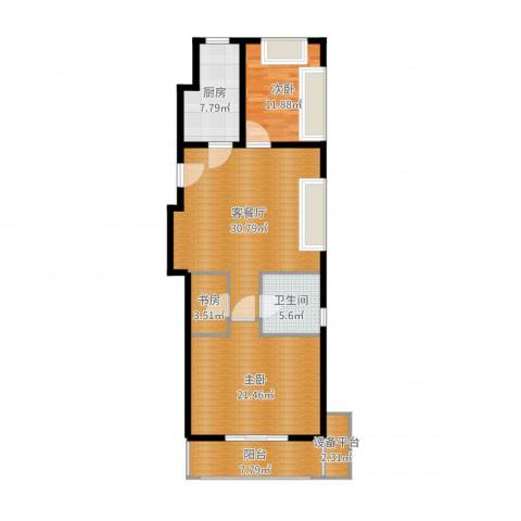 协合紫薇园3室2厅1卫1厨114.00㎡户型图