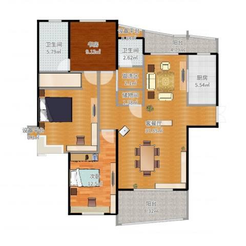 静安丽舍二期2室2厅2卫1厨137.00㎡户型图
