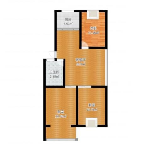 祥瑞家园1室2厅1卫1厨104.00㎡户型图