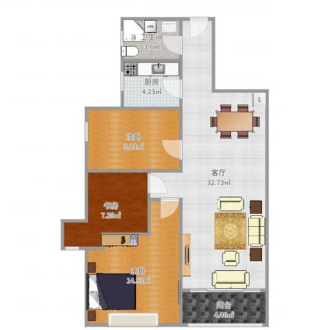 宇信凯旋城3室1厅1卫1厨96.00㎡户型图