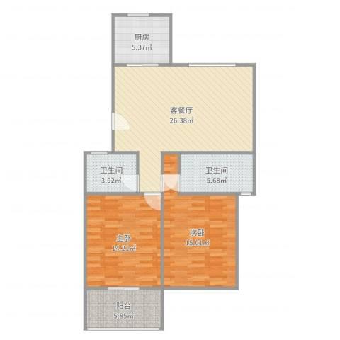 小城春秋2室2厅2卫1厨96.00㎡户型图