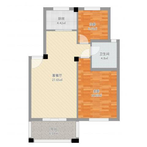 小城春秋2室2厅1卫1厨81.00㎡户型图