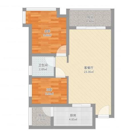 祈福海湾二期2室2厅1卫1厨67.00㎡户型图