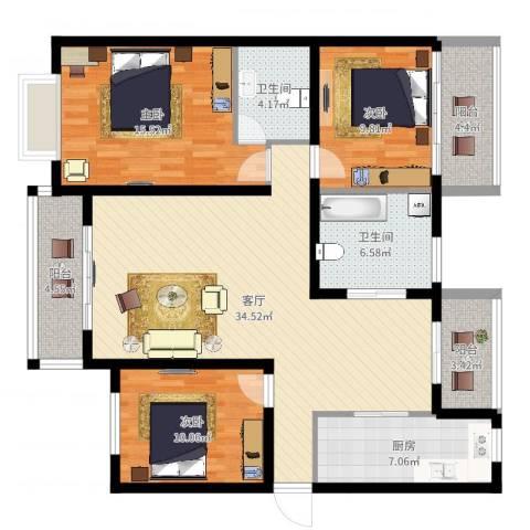 兴平昌苑3室1厅2卫1厨100.09㎡户型图