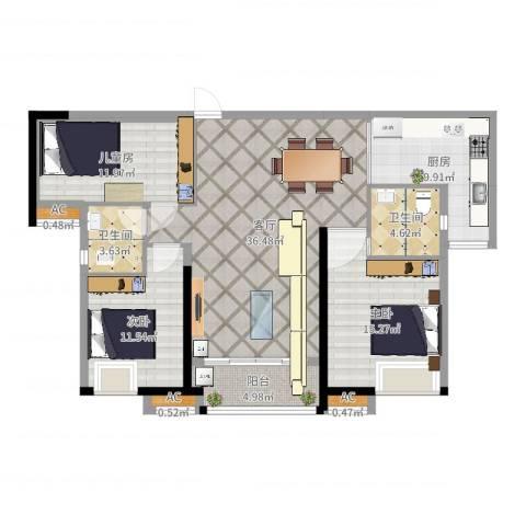 港湾江城3室1厅2卫1厨125.00㎡户型图