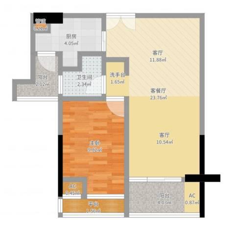 信和上筑1室2厅1卫1厨60.00㎡户型图