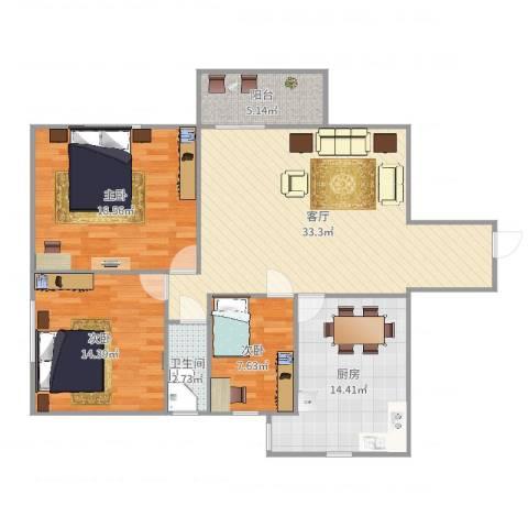 华丽花园3室1厅1卫1厨120.00㎡户型图