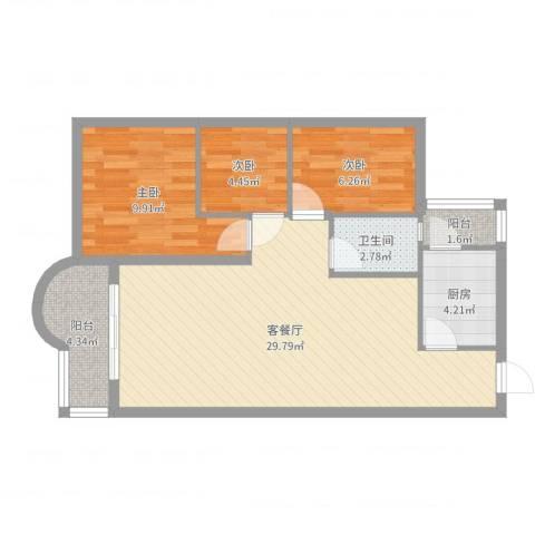 望海汇景苑3室2厅1卫1厨79.00㎡户型图