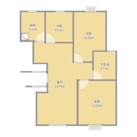 佳家花园3室1厅1卫1厨93.00㎡户型图