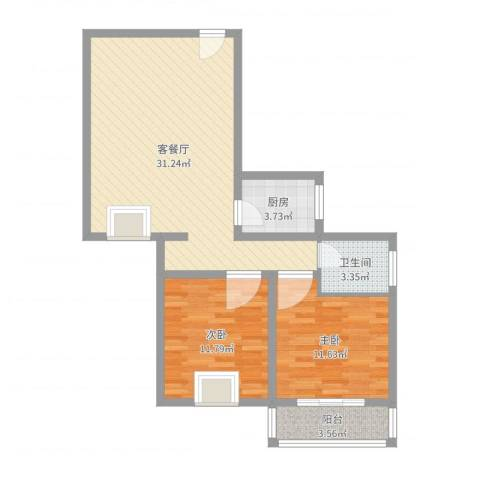 三兴园2室2厅1卫1厨82.00㎡户型图