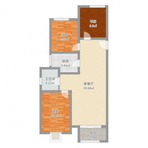 民生凤凰城3室2厅1卫1厨102.00㎡户型图