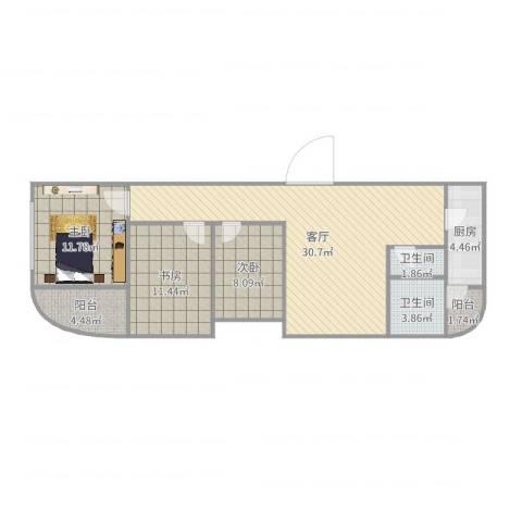 金水湾B区3室1厅2卫1厨78.42㎡户型图