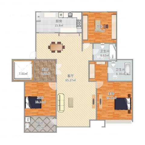浦江坤庭3室1厅2卫1厨230.00㎡户型图