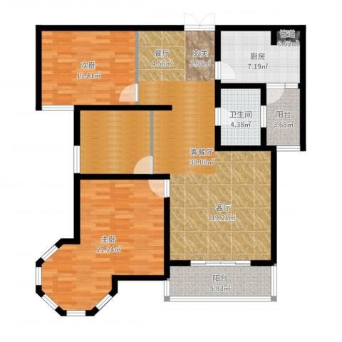 南阳桂花城御景2室2厅1卫1厨129.00㎡户型图