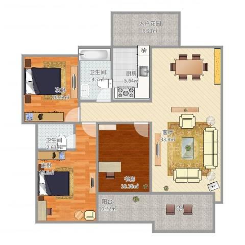 中海万锦豪园3室1厅2卫1厨133.00㎡户型图