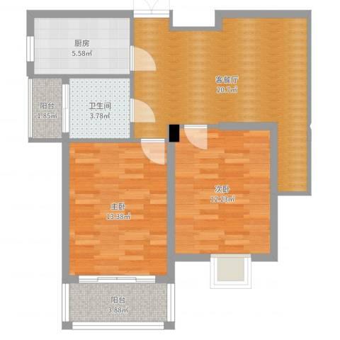 御景龙湾2室2厅1卫1厨77.00㎡户型图