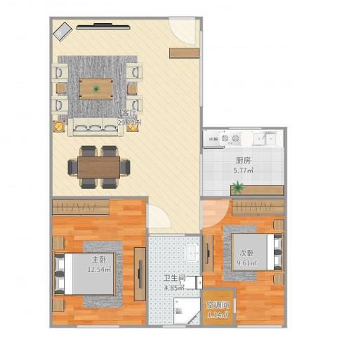 中环福境2室1厅2卫1厨80.00㎡户型图