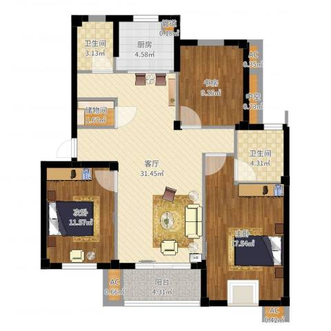 伊顿华府3室1厅2卫1厨113.00㎡户型图