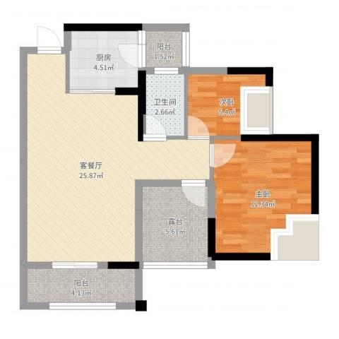 田禾卢浮公馆2室2厅1卫1厨78.00㎡户型图