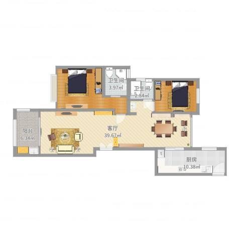 龙湾府1室1厅2卫1厨108.00㎡户型图