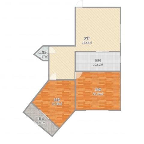 华山花苑2室1厅1卫1厨115.00㎡户型图