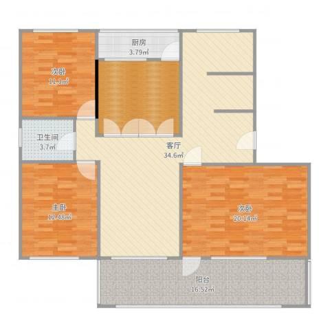 葡萄园小区3室1厅1卫1厨141.00㎡户型图