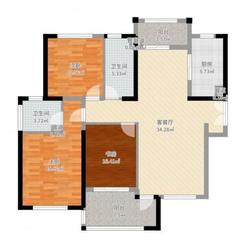 天慧紫辰阁3室2厅2卫1厨122.00㎡户型图