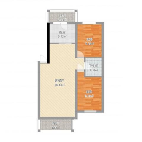 大自然家园2室2厅1卫1厨79.00㎡户型图