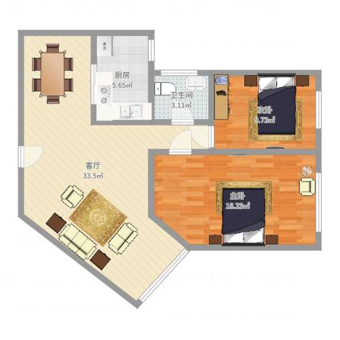 田林体育公寓2室1厅1卫1厨88.00㎡户型图