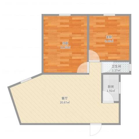 田林体育公寓2室1厅1卫1厨54.00㎡户型图