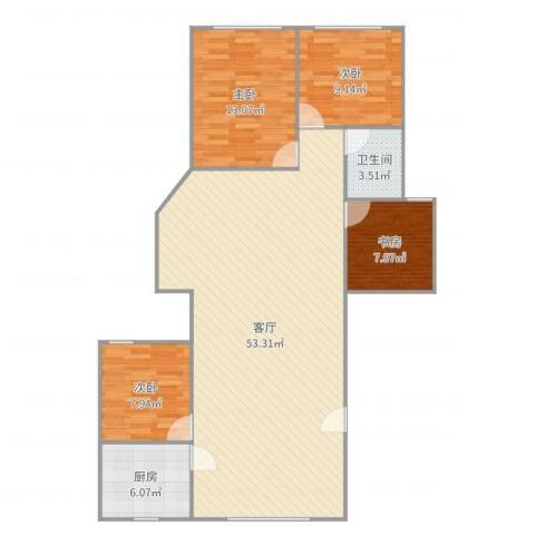 田林体育公寓4室1厅1卫1厨125.00㎡户型图
