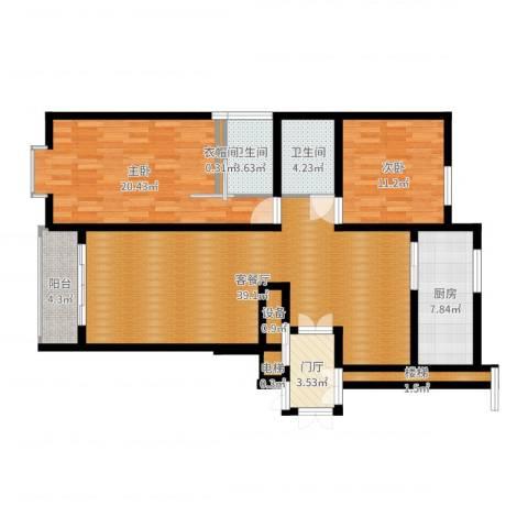 上东阳光2室2厅2卫1厨122.00㎡户型图