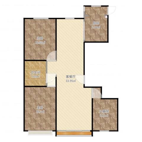 龙湾3室2厅1卫1厨101.00㎡户型图