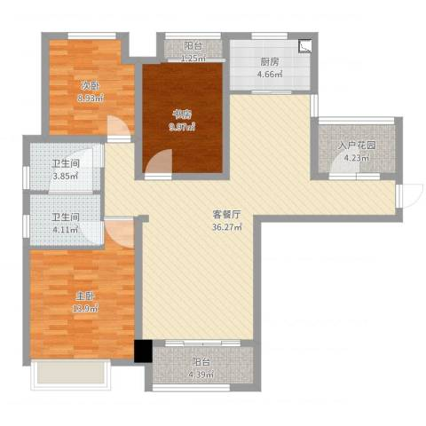 铂悦山3室2厅2卫1厨114.00㎡户型图