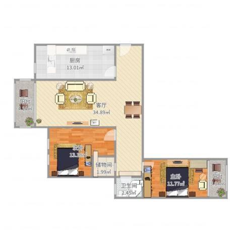 盛华景苑2室1厅1卫1厨106.00㎡户型图