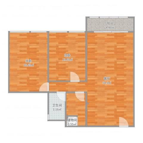 阳光棕榈园2室1厅1卫1厨76.11㎡户型图
