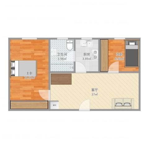日晖六村2室1厅1卫1厨57.00㎡户型图