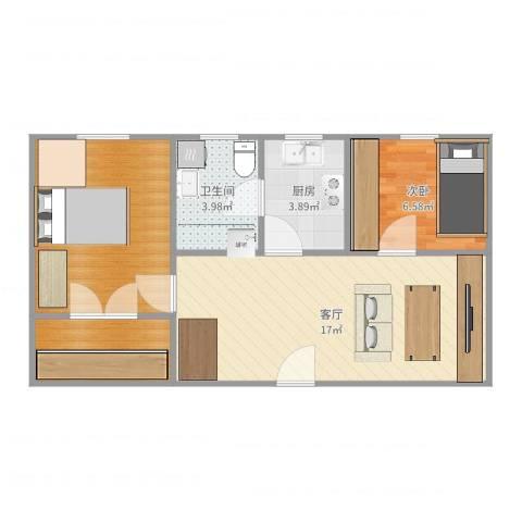 日晖六村1室1厅1卫1厨57.00㎡户型图