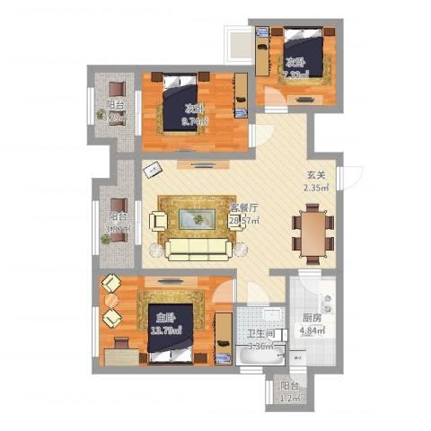 信阳东方今典御府3室2厅1卫1厨110.00㎡户型图