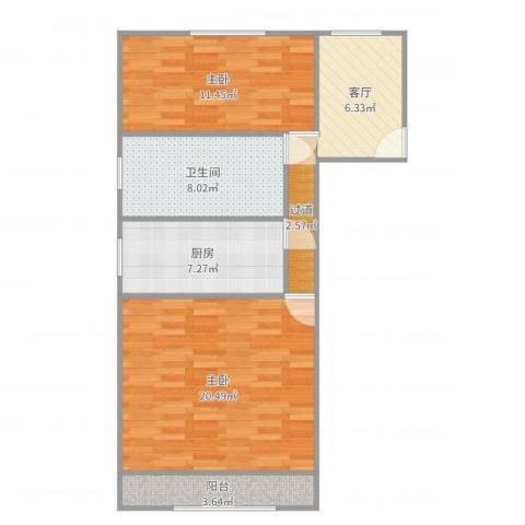 书香苑36.6032室1厅1卫1厨75.00㎡户型图