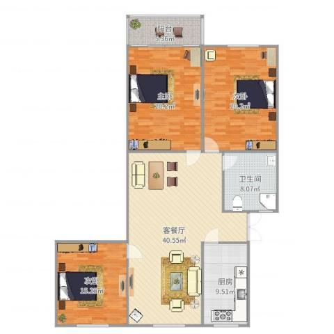 乾骏园3房94平3室2厅1卫1厨119.14㎡户型图