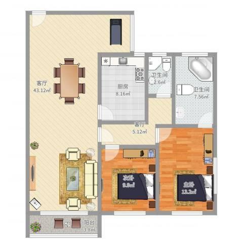 广地花园2室2厅2卫1厨117.00㎡户型图