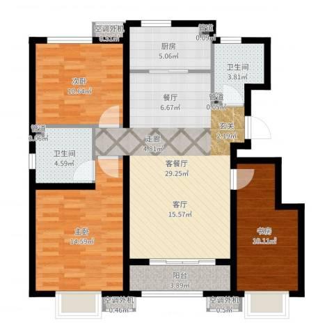东方明珠3室2厅2卫1厨104.00㎡户型图