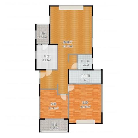 青之杰花园2室2厅2卫1厨134.00㎡户型图