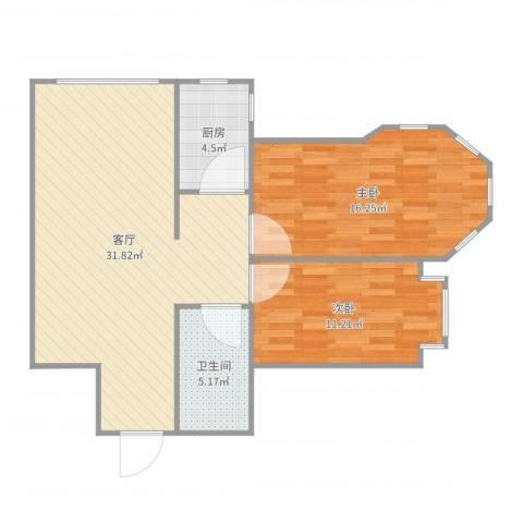 松浦观江国际2室1厅1卫1厨86.00㎡户型图