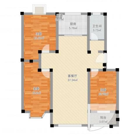 舜华园3室2厅2卫1厨109.00㎡户型图
