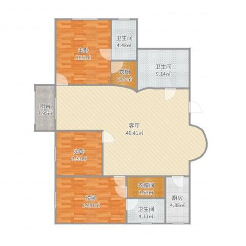 明园世纪城3室1厅3卫1厨149.00㎡户型图